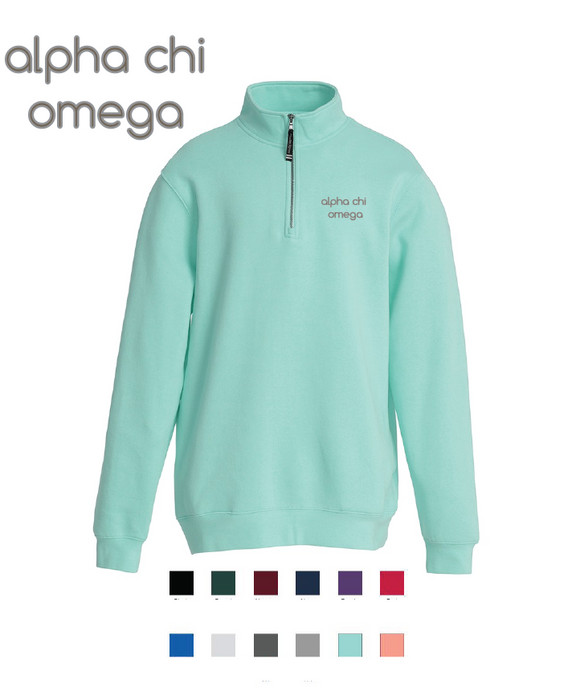 Alpha Chi Omega // Embroidered Charles River Crosswinds Fleece Quarter Zip Jacket