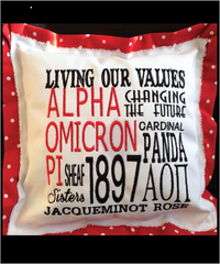 AOPi Embroidered Pillow