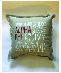 APhi Embroidered Pillow: Colored