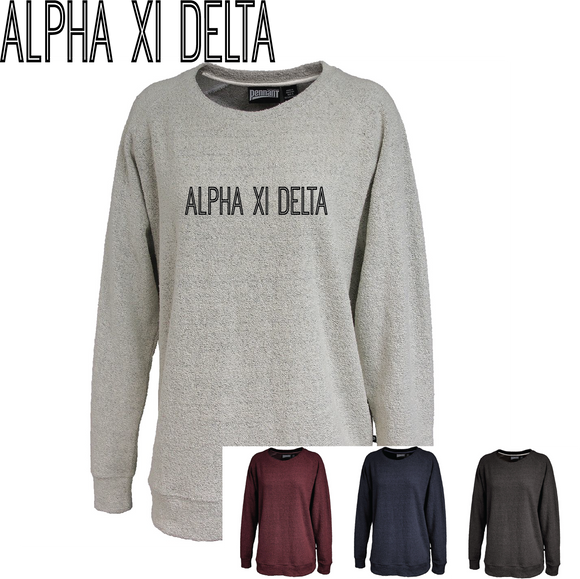 Alpha Xi Delta // Poodle Fleece Embroidered Crewneck