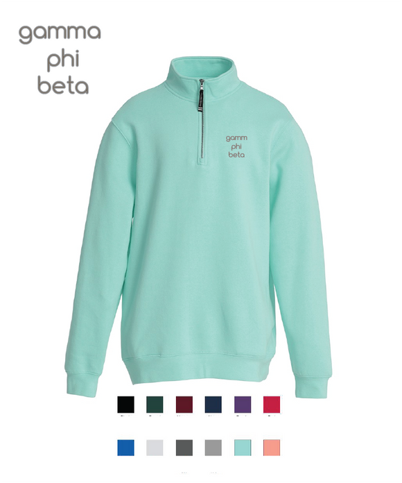 Gamma Phi Beta // Embroidered Charles River Crosswinds Fleece Quarter Zip Jacket