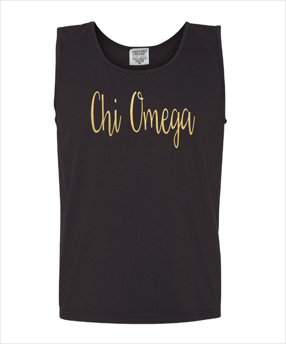 CHI OMEGA FOILED COMFORT COLOR TANK