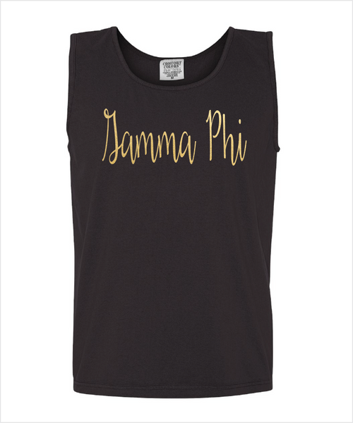 Gamma Phi Beta Gold Foiled Black Tank