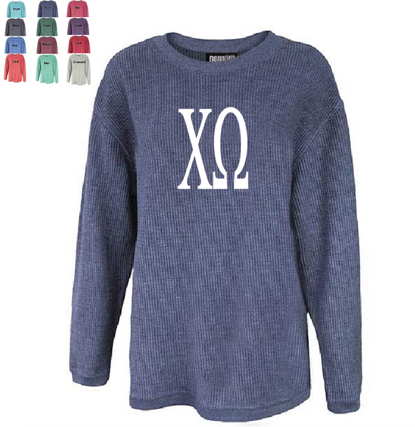 CHI OMEGA WASHED CORDED CREWNECK
