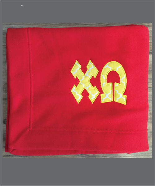 ChiO Sorority Sweatshirt Fleece Blanket