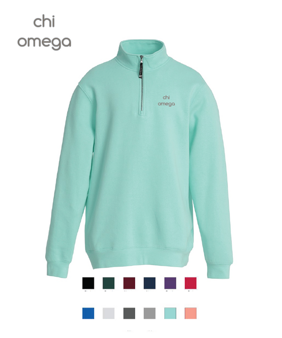 Chi Omega // Embroidered Charles River Crosswinds Fleece Quarter Zip Jacket