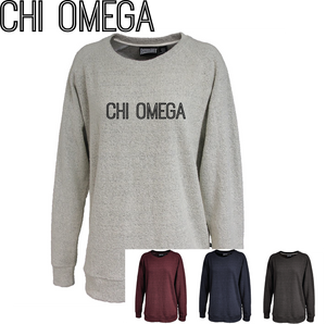 Chi Omega // Poodle Fleece Embroidered Crewneck