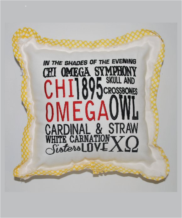 ChiO Embroidered Pillow