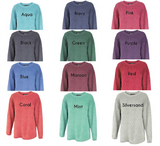 Chi Omega // Washed Corded Crewneck (Coneria)