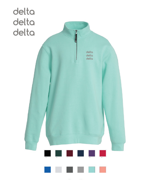 Delta Delta Delta // Embroidered Charles River Crosswinds Fleece Quarter Zip Jacket