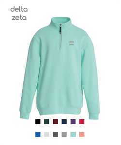 Delta Zeta // Embroidered Charles River Crosswinds Fleece Quarter Zip Jacket