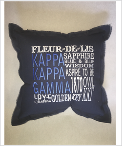Kappa Embroidered Pillow: Colored