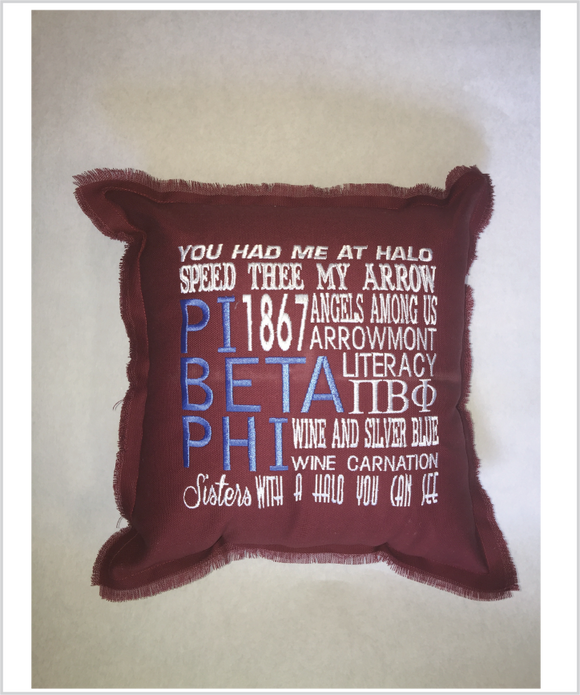 PiPhi  Embroidered Pillow: Colored
