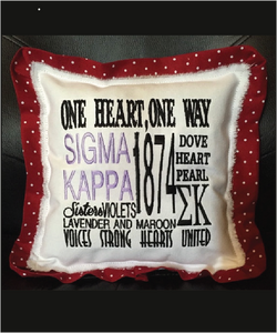 Sigma Kappa Embroidered Pillow