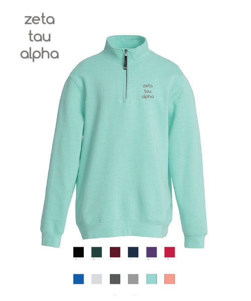 Zeta Tau Alpha // Embroidered Charles River Crosswinds Fleece Quarter Zip Jacket