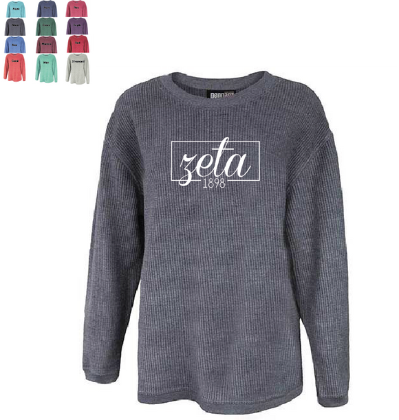 Zeta Tau Alpha // Washed Corded Crewneck (Coneria)