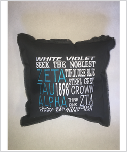 Zeta Embroidered Pillow: Colored