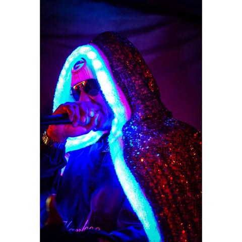 Kool Keith in a Firefly Cloak by Austin Bright Light Design.  Photo credit: Melvin Monroe Photography