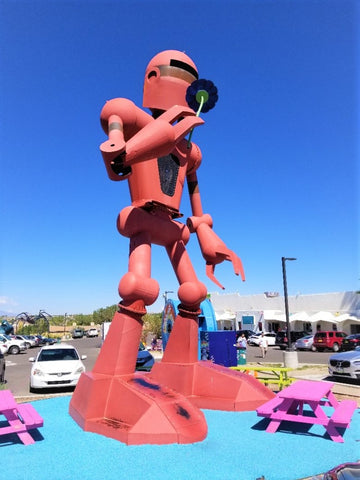 Flower Sniffing Robot from Meow Wolf picture by Austin Bright Light Design