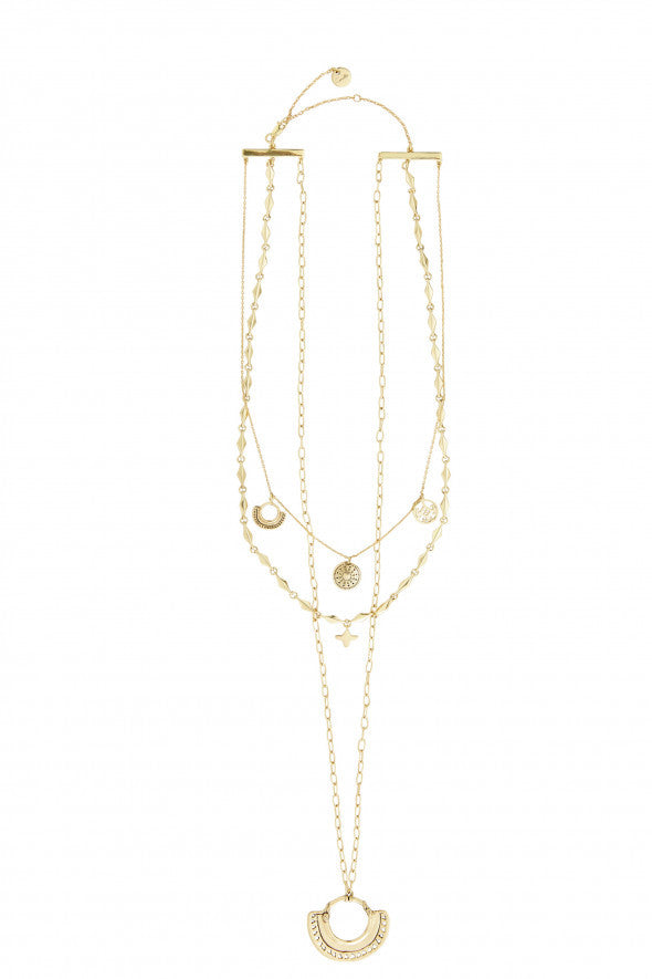 Camilla Gold Brass Layered Chain Necklace
