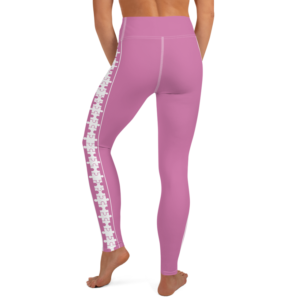 PUZZLE STRIPED LEGGINGS: PINK