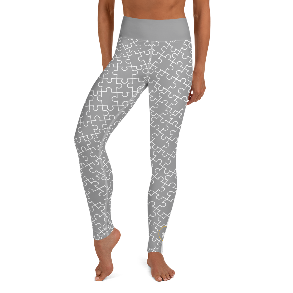 ALL OVER PUZZLE PIECE LEGGINGS: DARK GREY