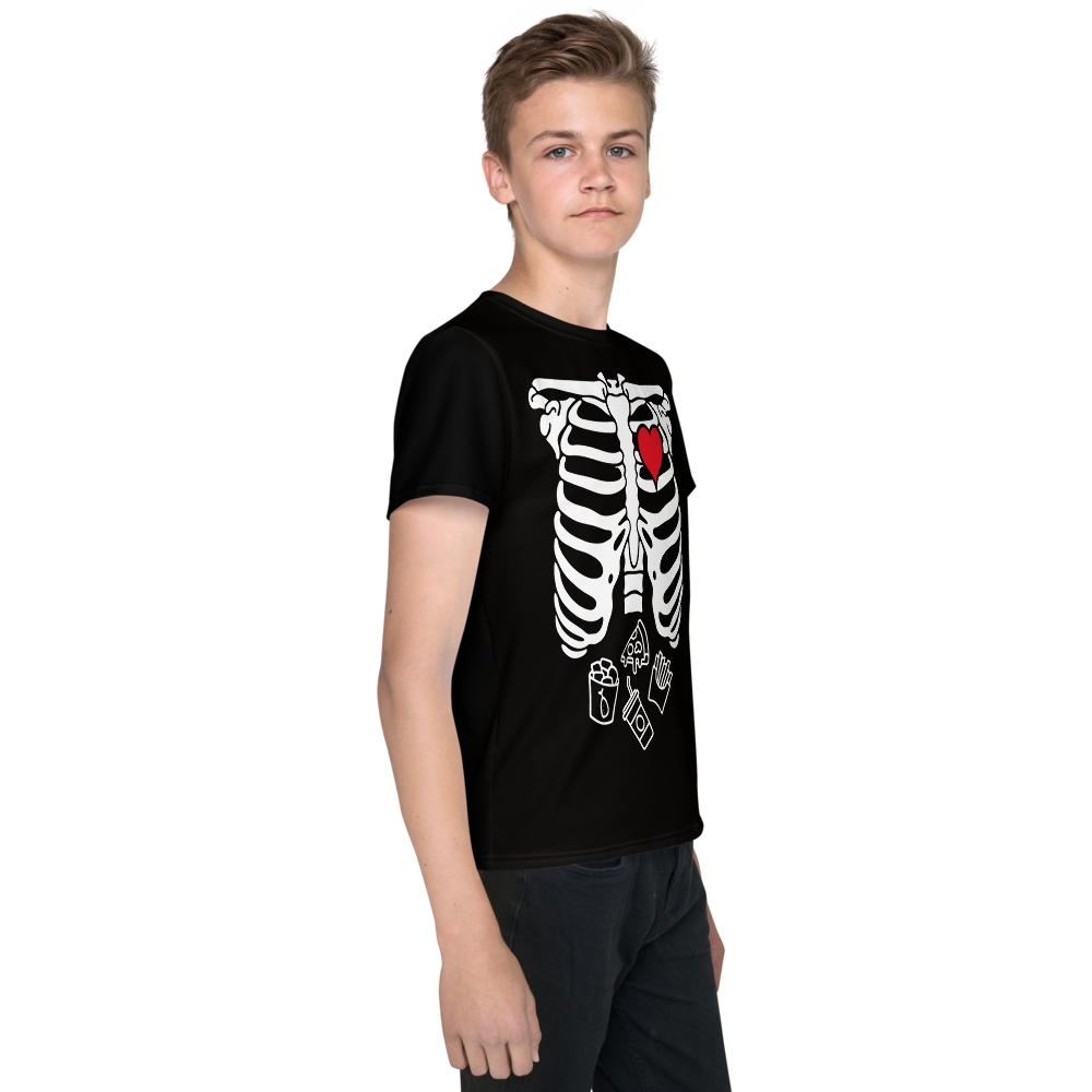 SKELETON  FAV. FOOD HALLOWEEN TEE: YOUTH
