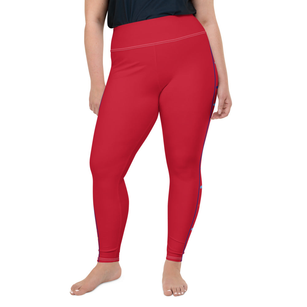 COLORFUL PUZZLE STRIPED (PLUS SIZE) LEGGINGS: RED