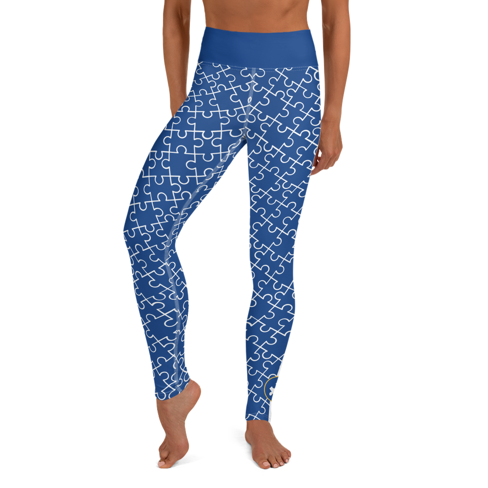 ALL OVER PUZZLE PIECE LEGGINGS NAVY BLUE