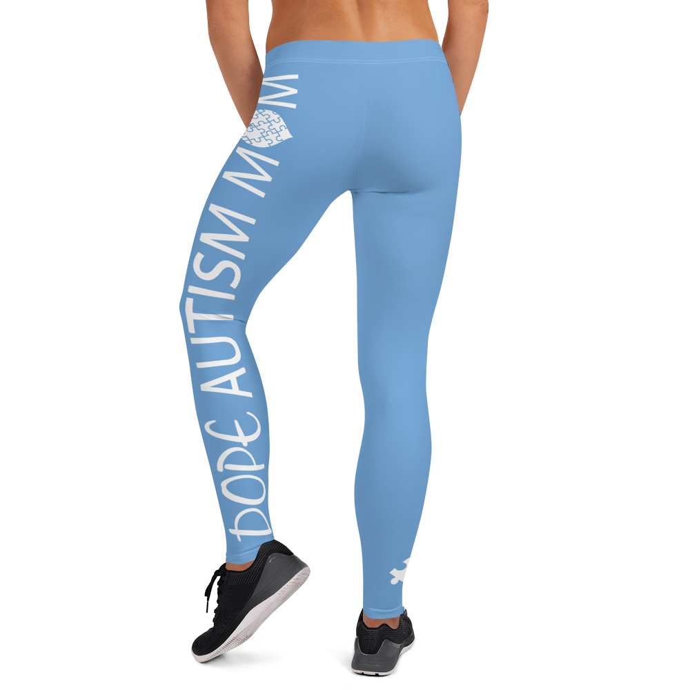 DOPE AUTISM MOM LEGGINGS: BABY BLUE
