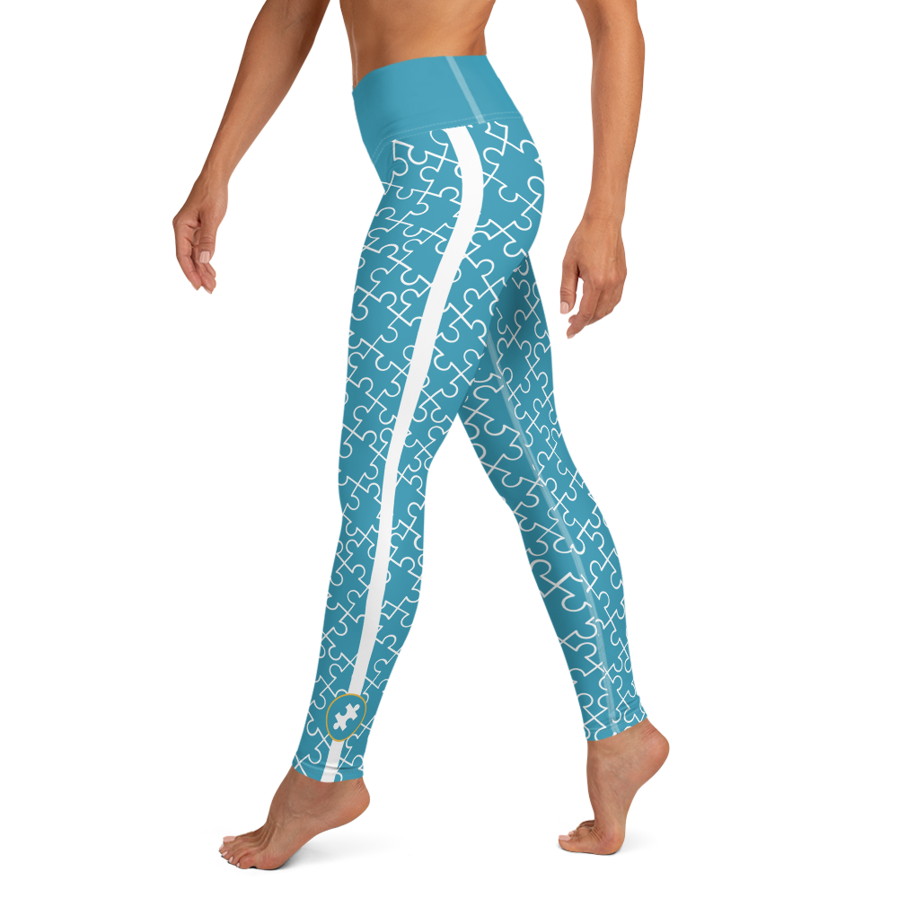 ALL OVER PUZZLE PIECE LEGGINGS: BLUE