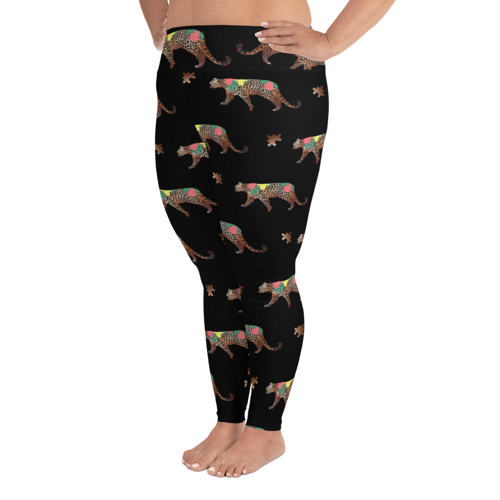 CHEETAH ALL OVER PUZZLE PIECES (PLUS SIZE) LEGGINGS: BLACK