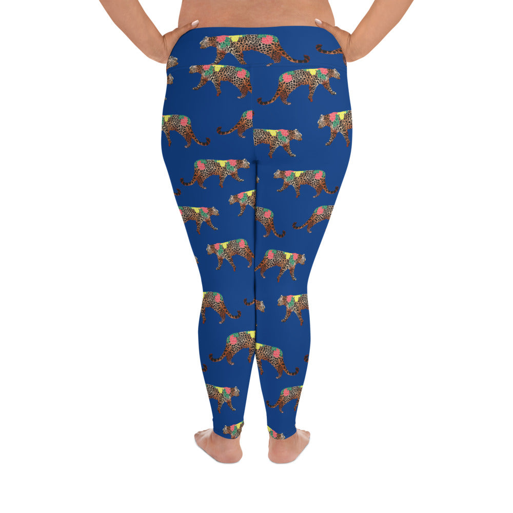CHEETAH FLOWER PUZZLE PRINT (PLUS SIZE) LEGGINGS: NAVY BLUE