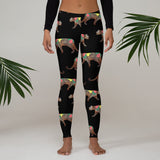 CHEETAH FLOWER PUZZLE PRINT LEGGINGS: BLACK