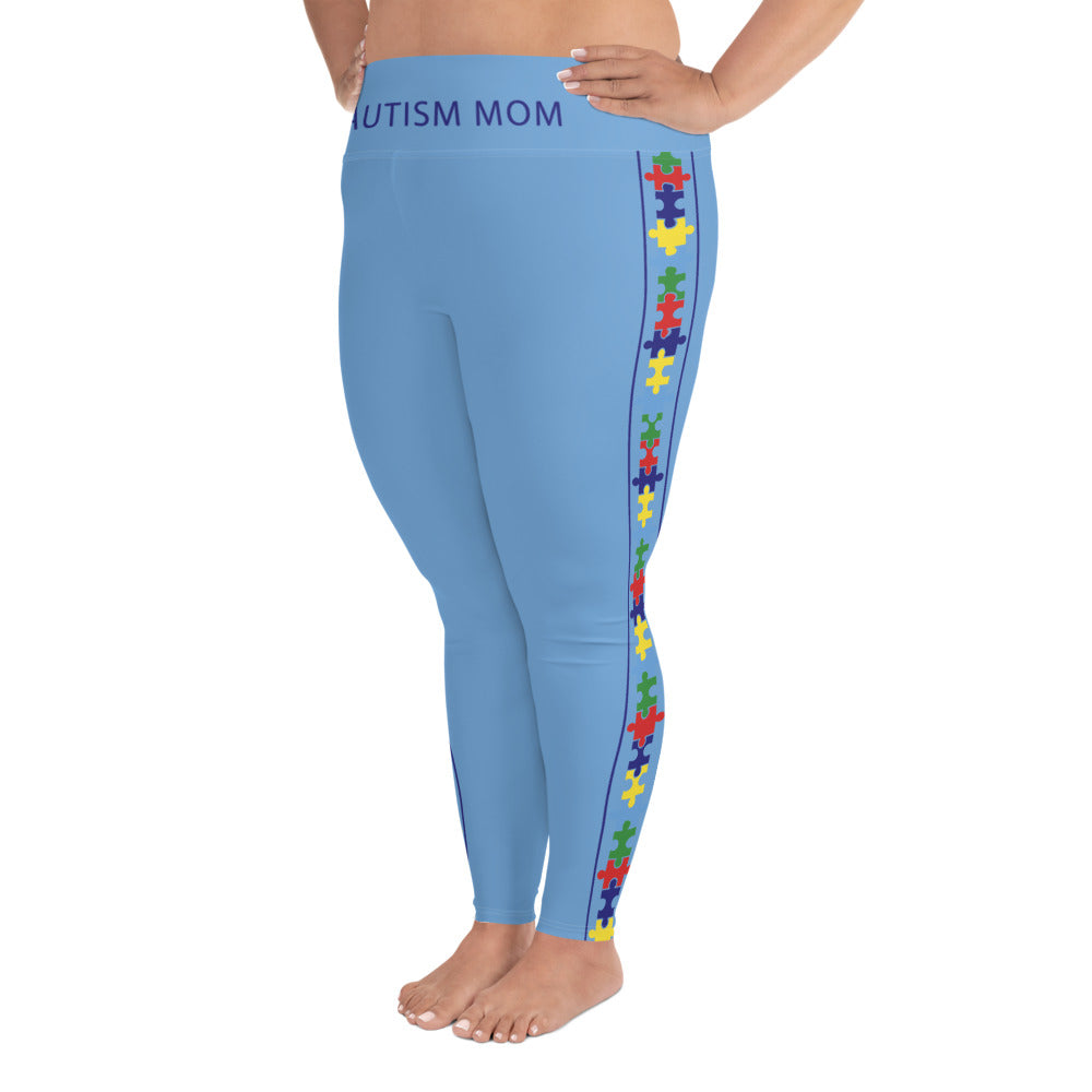 COLORFUL PUZZLE STRIPED (PLUS SIZE) LEGGINGS: BLUE