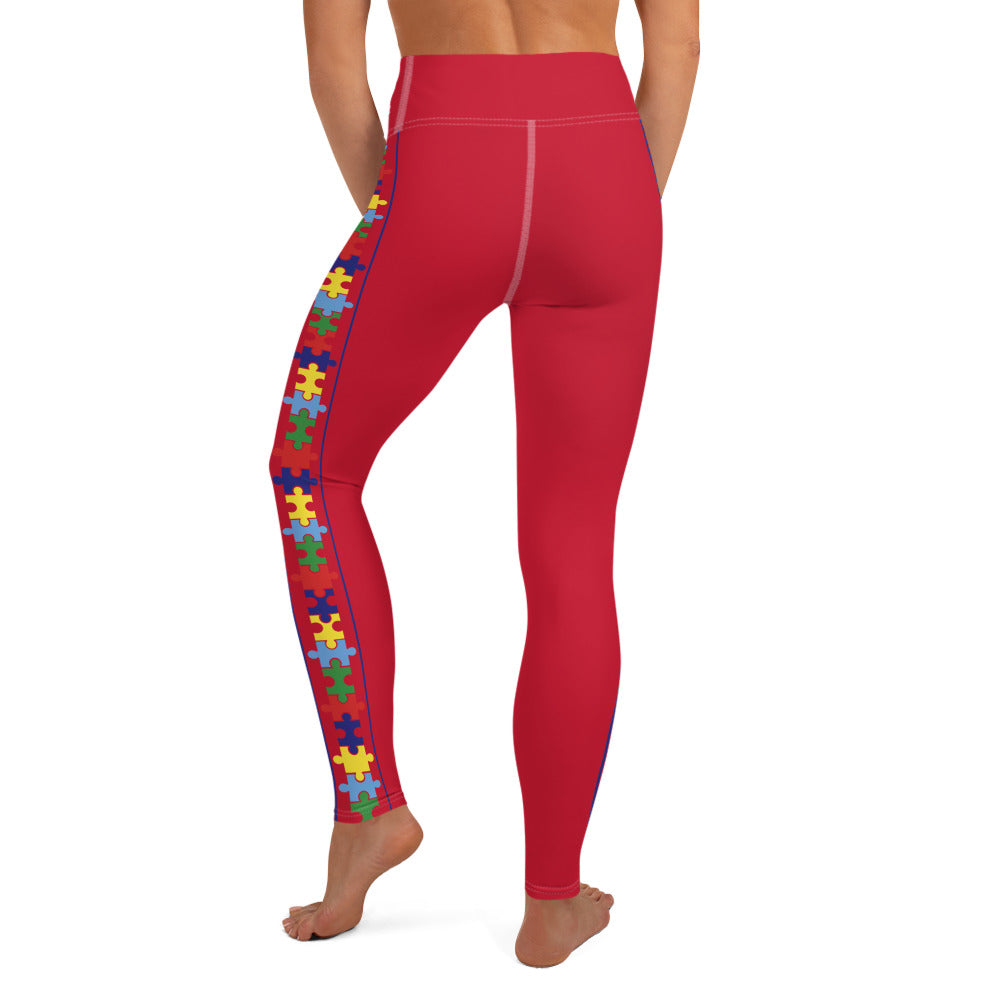 COLORFUL PUZZLE STRIPED LEGGINGS: RED