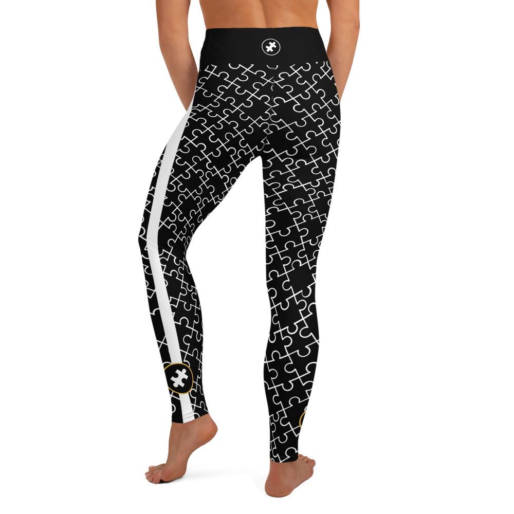 ALL OVER PUZZLE PIECE LEGGINGS: BLACK