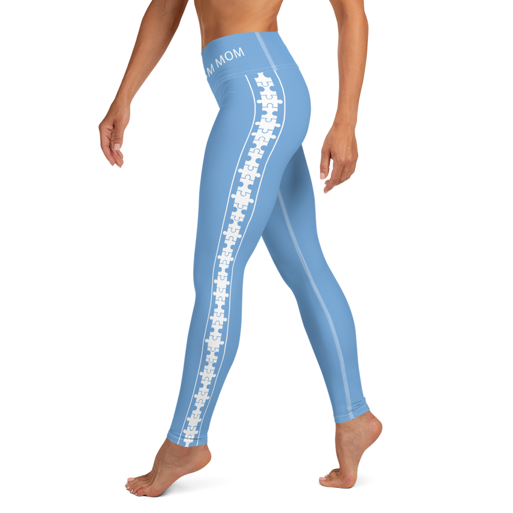 PUZZLE STRIPED LEGGINGS: BABY BLUE