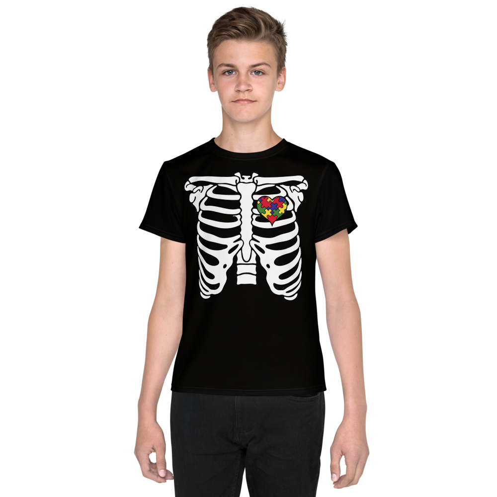 SKELETON PUZZLE HEART TEE: YOUTH