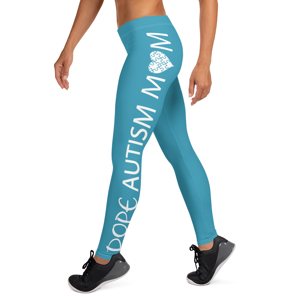 DOPE AUTISM MOM LEGGINGS: BLUE