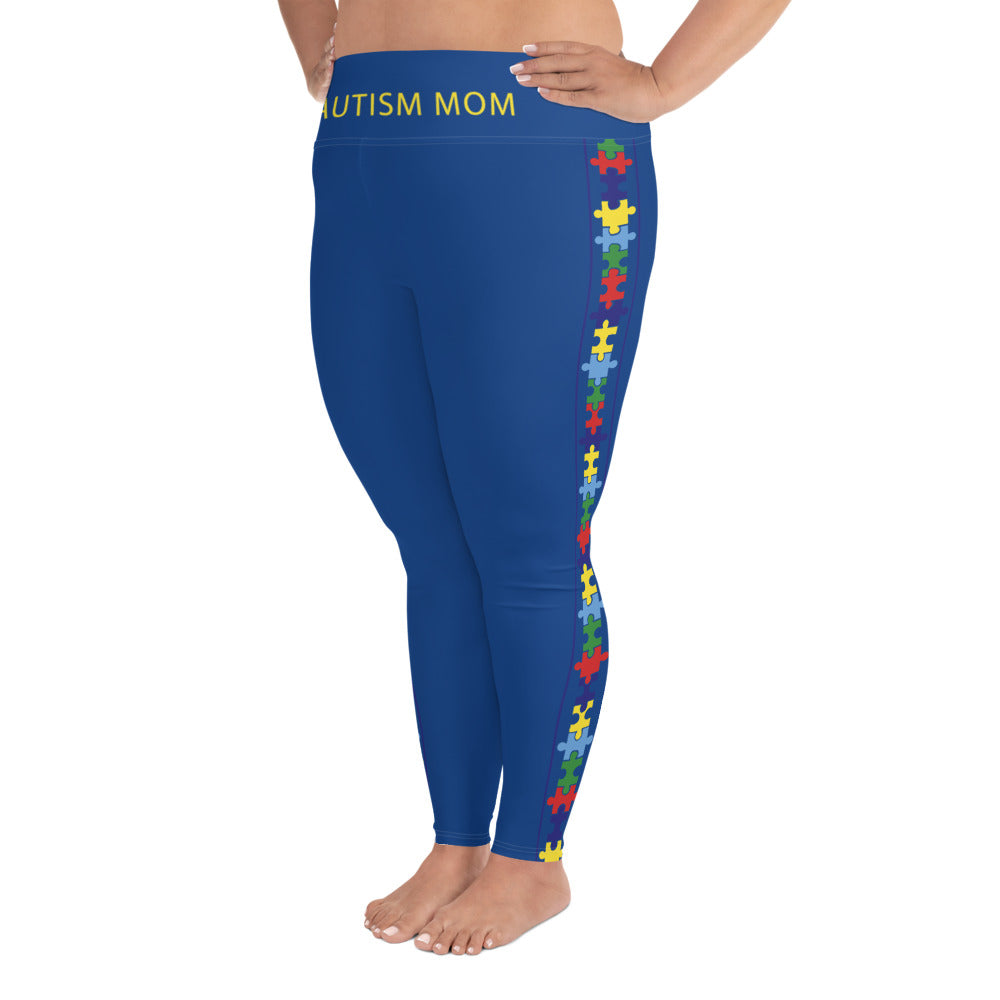 COLORFUL PUZZLE STRIPED (PLUS SIZE) LEGGINGS: NAVY BLUE
