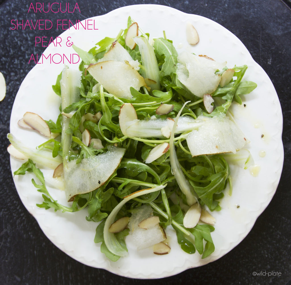 ARUGULA SALAD + SHAVED FENNEL + PEAR + SLIVERED ALMONDS