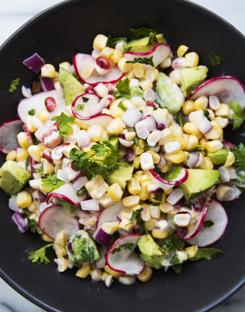 VEGAN + RAW SWEET CORN SALAD + COCONUT LIME DRESSING