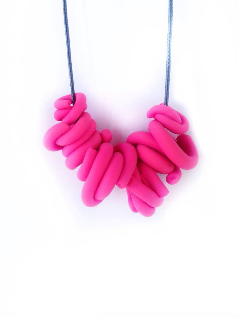 Hot Pink Swirl Necklace