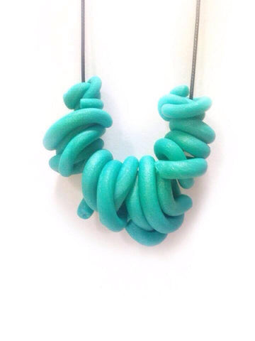 N. Shimmer Green Swirl Necklace