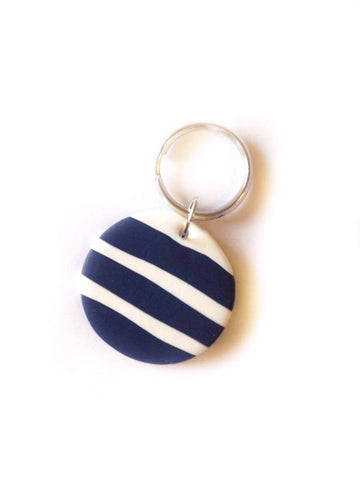 Navy & White Keyring