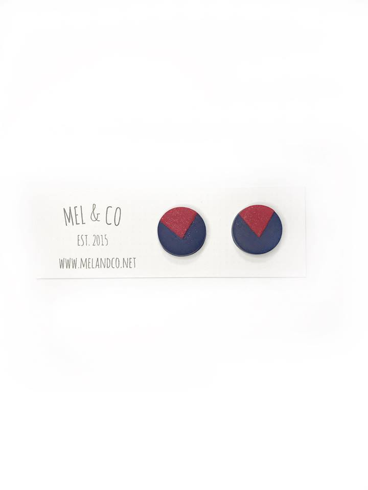 Melbourne Demons Stud Earrings AFL Sterling Silver