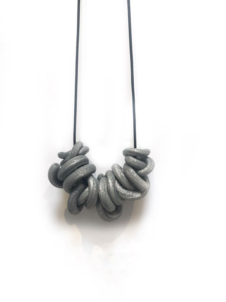 Disco Silver Swirl Necklace