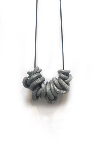 T. Disco Silver Swirl Necklace