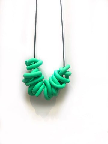 O. Emerald Green Swirl Necklace